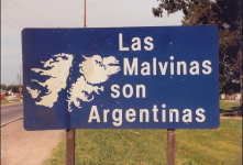 Argentine Malvinas road sign